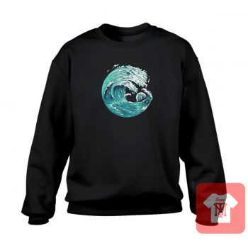 Wave With Moon Ship Crewneck Sweatshirt