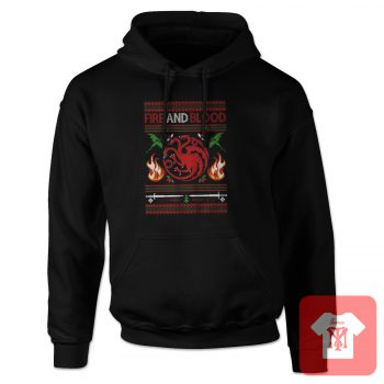 Fire and Blood Ugly Christmas Hoodie