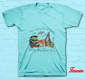 This Witch Needs Coffee T-Shirt Light Blue